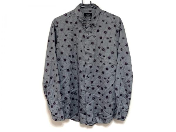 EPOCA(エポカ) 長袖シャツ サイズ46 XL メンズ ダークグレー×パープル UOMO/花柄