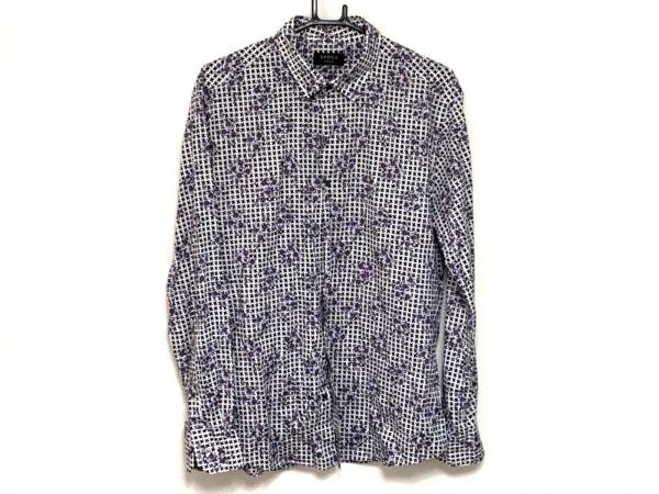 EPOCA(エポカ) 長袖シャツ サイズ48 XL メンズ 黒×白×パープル UOMO/花柄
