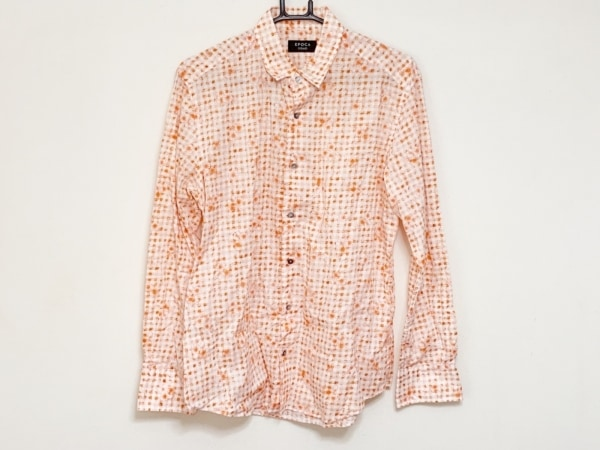 EPOCA(エポカ) 長袖シャツ サイズ46 XL メンズ オレンジ×白 UOMO/花柄