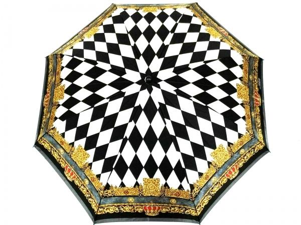 ジャンニヴェルサーチ 折りたたみ傘美品  黒×アイボリー×マルチ 化学繊維