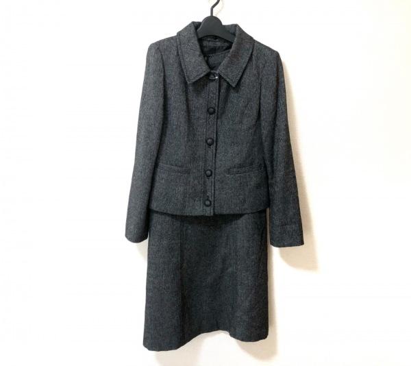 コムサイズム ワンピーススーツ サイズL レディース美品  グレー×黒×白