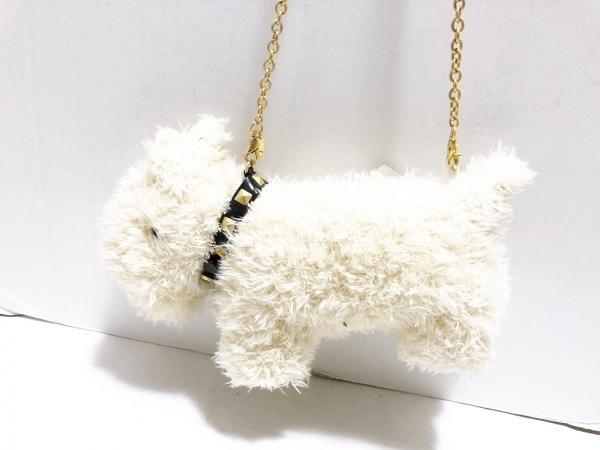 ピンクハウス ショルダーバッグ アイボリー×黒 チェーンショルダー/犬 化学繊維