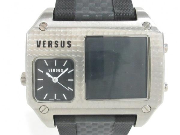 VERSUS(ヴェルサス) 腕時計 A02LQ メンズ ラバーベルト 黒