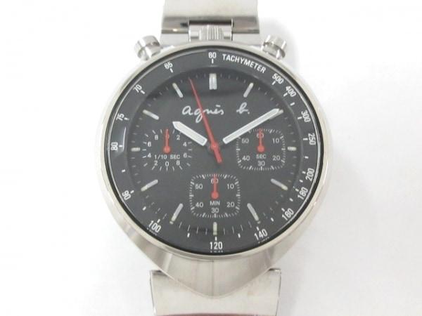 agnes b(アニエスベー) 腕時計 V655-7010 メンズ クロノグラフ 黒