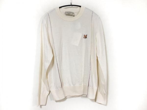 メゾンキツネ 長袖セーター サイズL レディース美品  アイボリー×ボルドー