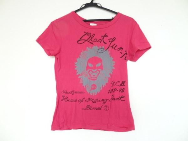 DIESEL(ディーゼル) 半袖Tシャツ サイズM レディース ピンク×黒×ライトグレー