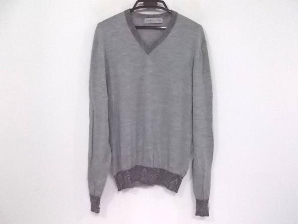 ETRO(エトロ) 長袖セーター サイズL レディース美品  ライトグレー×ダークグレー