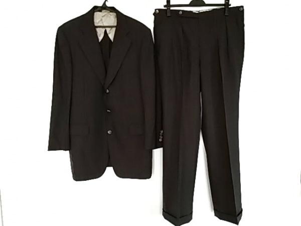 ポールスチュアート シングルスーツ サイズ8 メンズ美品  ダークグレー×パープル