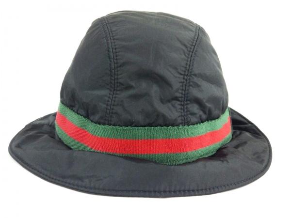 GUCCI(グッチ) 帽子 XL シェリー 黒×グリーン×レッド