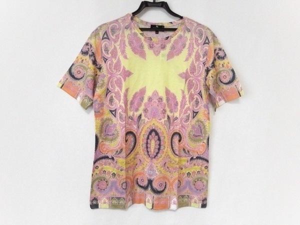 ETRO(エトロ) 半袖Tシャツ サイズ46 S メンズ新品同様  イエロー×ピンク×マルチ