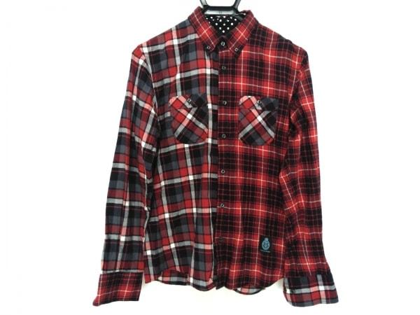 ギルドプライム 長袖シャツ サイズ1 S メンズ レッド×ネイビー×マルチ チェック柄