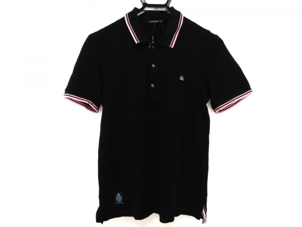 GUILD PRIME(ギルドプライム) 半袖ポロシャツ サイズ2 M メンズ 黒×ピンク×マルチ