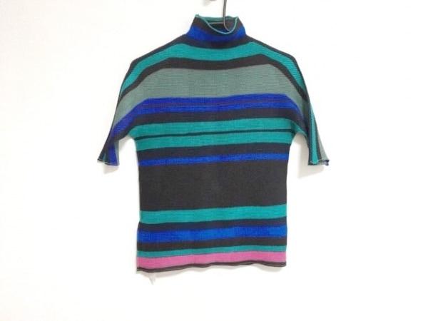 イッセイミヤケ 半袖カットソー サイズ3 L レディース グリーン×黒×マルチ