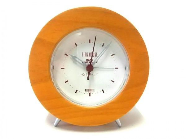 ピンクハウス 小物美品  ライトブラウン×アイボリー×ボルドー 置時計(動作確認済み)