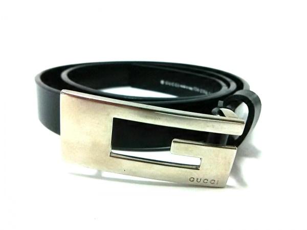 GUCCI(グッチ) ベルト 黒×シルバー レザー×金属素材