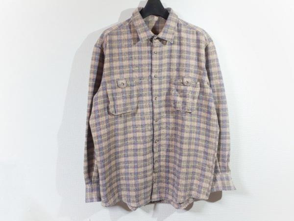Papas(パパス) 長袖シャツ サイズLL メンズ アイボリー×ピンク×マルチ チェック柄