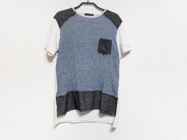 モードフルーレ 半袖Tシャツ サイズ2L レディース グレー×アイボリー×黒