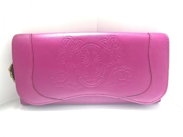 ANNA SUI(アナスイ) 長財布美品  ピンク フラワー/型押し加工 レザー