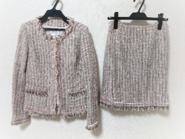プチプードル スカートスーツ サイズM レディース ピンク×アイボリー×ライトグレー