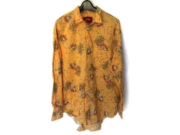 PINK HOUSE(ピンクハウス) 長袖シャツ メンズ美品  オレンジ×マルチ