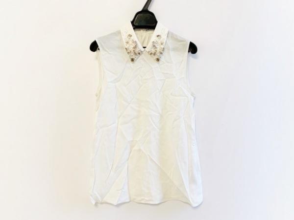 ミュウミュウ ノースリーブシャツブラウス サイズ38 S レディース 白 ビジュー