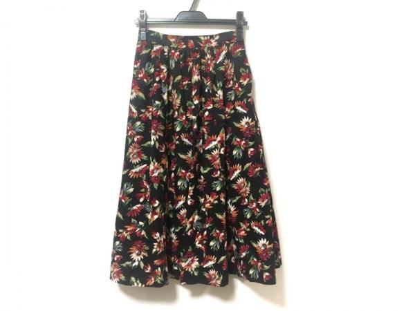 CLANE(クラネ) ロングスカート サイズ1 S レディース美品  黒×レッド×マルチ 花柄