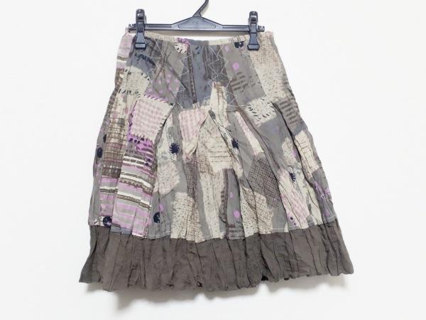 カルロピック スカート サイズ38 M レディース新品同様  ベージュ×ピンク×マルチ
