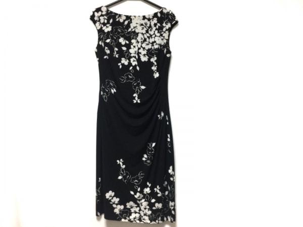 ラルフローレン ワンピース サイズ6 M レディース 黒×白 LAUREN DRESS/花柄