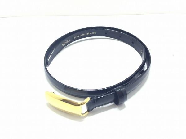GUCCI(グッチ) ベルト 黒×ゴールド エナメル(レザー)×金属素材