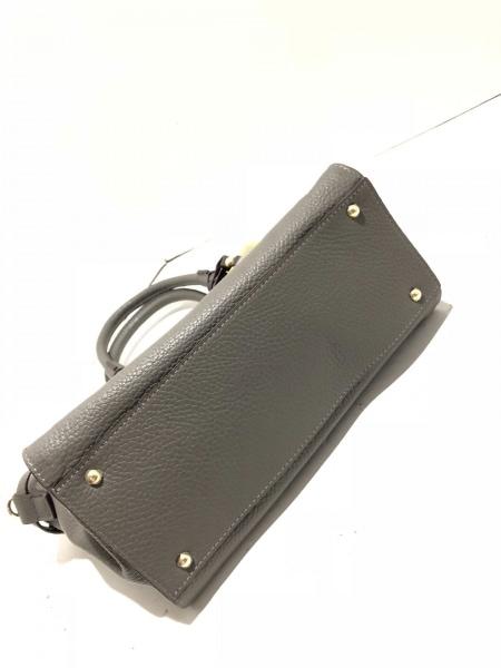 PELLE BORSA(ペレボルサ) ハンドバッグ新品同様  グレー×イエロー レザー