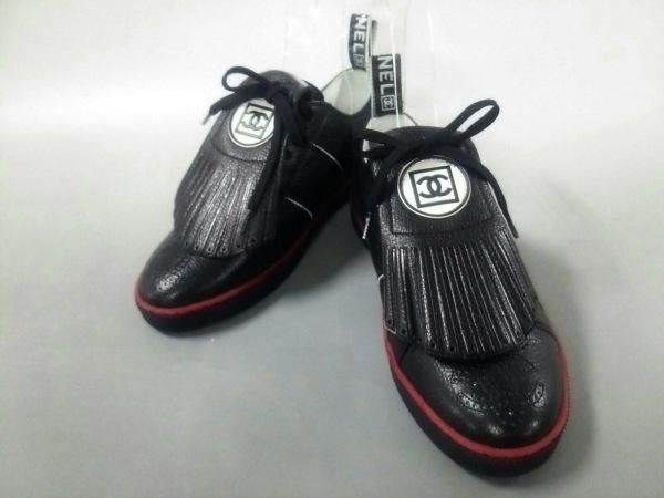 シャネル スニーカー 38 1/2 レディース新品同様  スポーツライン G26003 黒 レザー