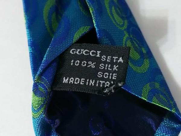 GUCCI(グッチ) ネクタイ メンズ ブルー×ライトグリーン×ネイビー