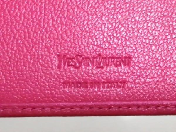 イヴサンローランリヴゴーシュ 2つ折り財布新品同様  - 352906 ピンク レザー
