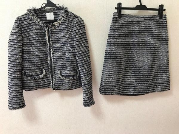 エージーバイアクアガール スカートスーツ レディース美品  アイボリー×ネイビー
