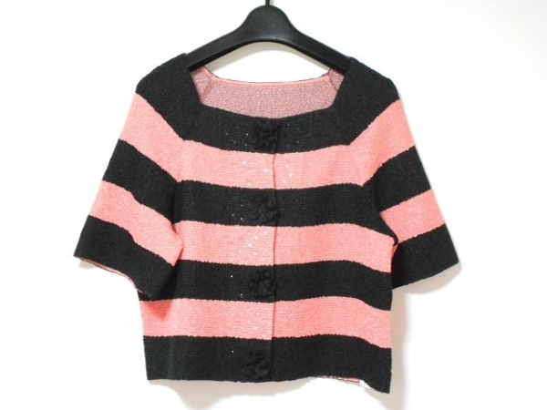 NOKO OHNO(ノコオーノ) カーディガン サイズ42 L レディース美品  黒×ピンク