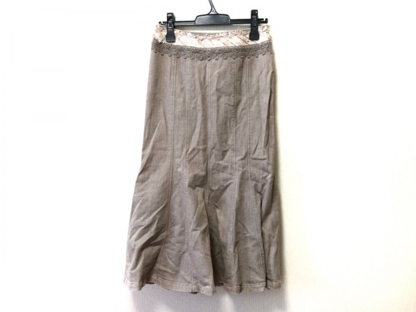 インゲボルグ ロングスカート サイズ11 M レディース グレー×ピンク×マルチ