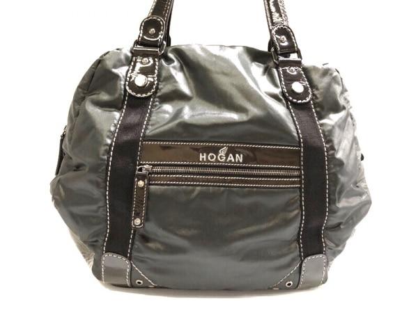 HOGAN(ホーガン) ショルダーバッグ 黒 ナイロン×エナメル(レザー)