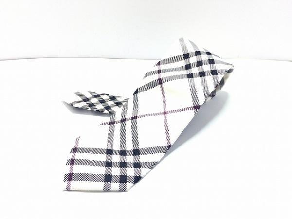 バーバリーブラックレーベル ネクタイ メンズ美品  白×黒×ボルドー チェック柄