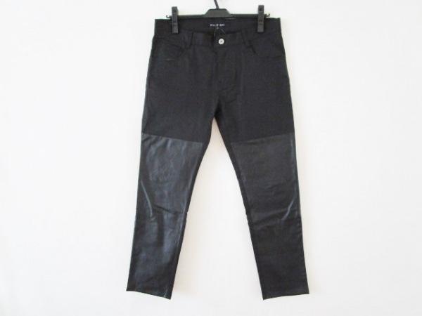 ノーアイディー パンツ サイズ3 L レディース 黒 BLACK/一部合皮/ストレッチ素材
