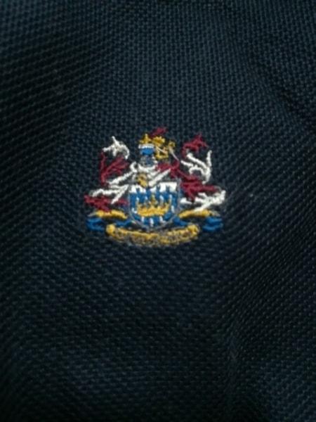 アクアスキュータム 長袖ポロシャツ サイズ9 M レディース美品  ダークネイビー 刺繍