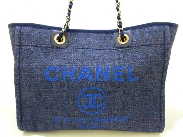 CHANEL(シャネル) トートバッグ美品  ドーヴィルラインMM A67001 ネイビー
