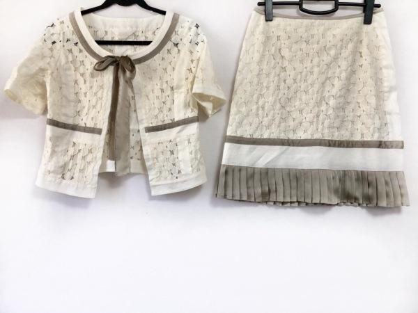 リツコシラハマ スカートスーツ サイズ1 S レディース 白×グレー レース/プリーツ