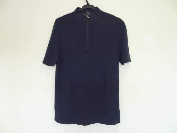 プラダ 半袖セーター サイズ48 M メンズ美品  ダークネイビー ハーフジップアップ