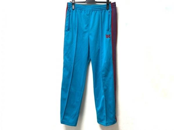 ニードルス パンツ サイズM メンズ ライトブルー×レッド ウエストゴム/ストライプ
