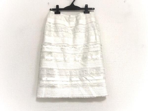 TO BE CHIC(トゥービーシック) スカート サイズ40 M レディース 白 レース/フリンジ