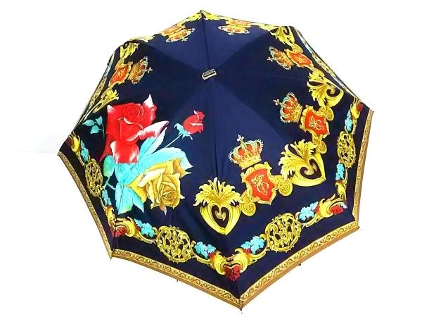 クリスチャンディオール 折りたたみ傘 ネイビー×イエロー×マルチ 化学繊維
