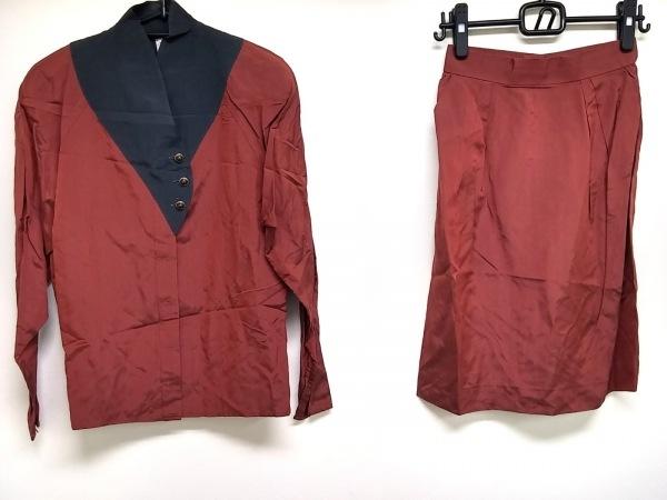 ウンガロ スカートセットアップ サイズ9 M レディース美品  ボルドー×ダークネイビー
