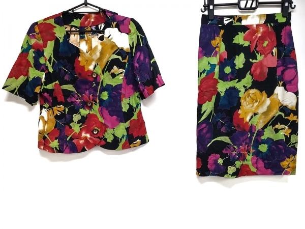 ウンガロ スカートセットアップ サイズ11 M レディース美品  黒×レッド×マルチ 花柄