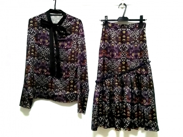 ルシェルブルー スカートセットアップ サイズ36 S レディース美品  花柄