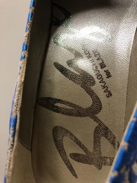 サカグチコウシ ブレイズ パンプス 36 レディース アイボリー×ブルー スエード